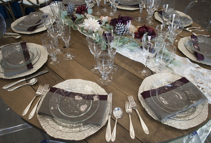 Neutral colors + deep burgundy + acorn centerpiece makes a perfect look for a fall or winter wedding or holiday party | Celebrations! Party Rentals and Tents