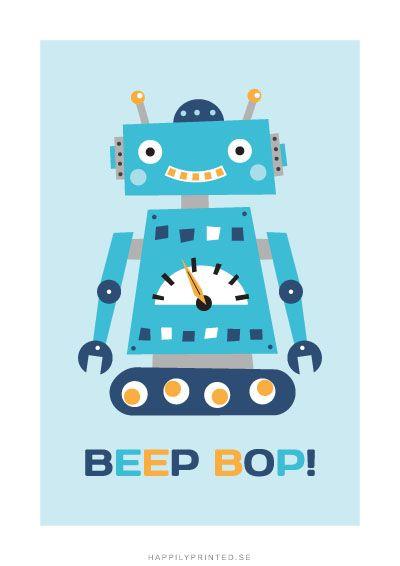 """Barntavla föreställande en liten blå robot samt text """"Beep bop"""". Blir fin som dekoration i barnrummet för en liten tjej eller kille som gillar robotar."""