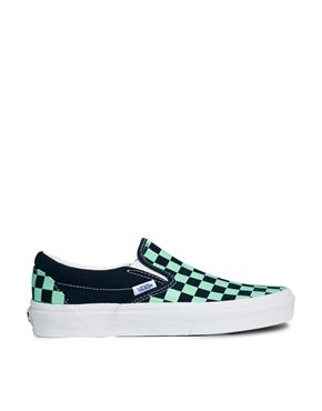 50% off sale on at ASOS so managed to get some New Vans for £28!! Vans Classic Slip On Blue/Green Checkerboard Trainers
