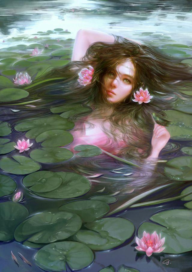 Dragon Asian Lotus Maiden Goddess China fantasy art print - Brandy ...