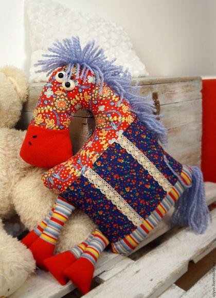 Текстиль, ковры ручной работы. Ярмарка Мастеров - ручная работа. Купить Подушка-игрушка Лошадка. Handmade. Разноцветный, смешная
