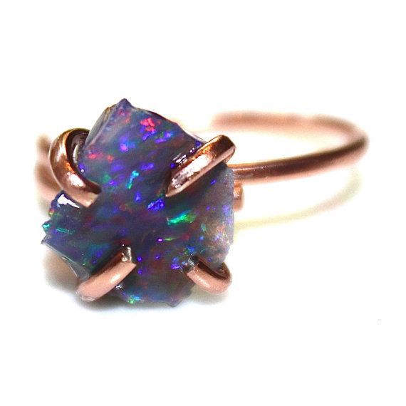 Opal Ring Rose Gold Ring Raw Opal Ring Freeform Ring by FizzCandy