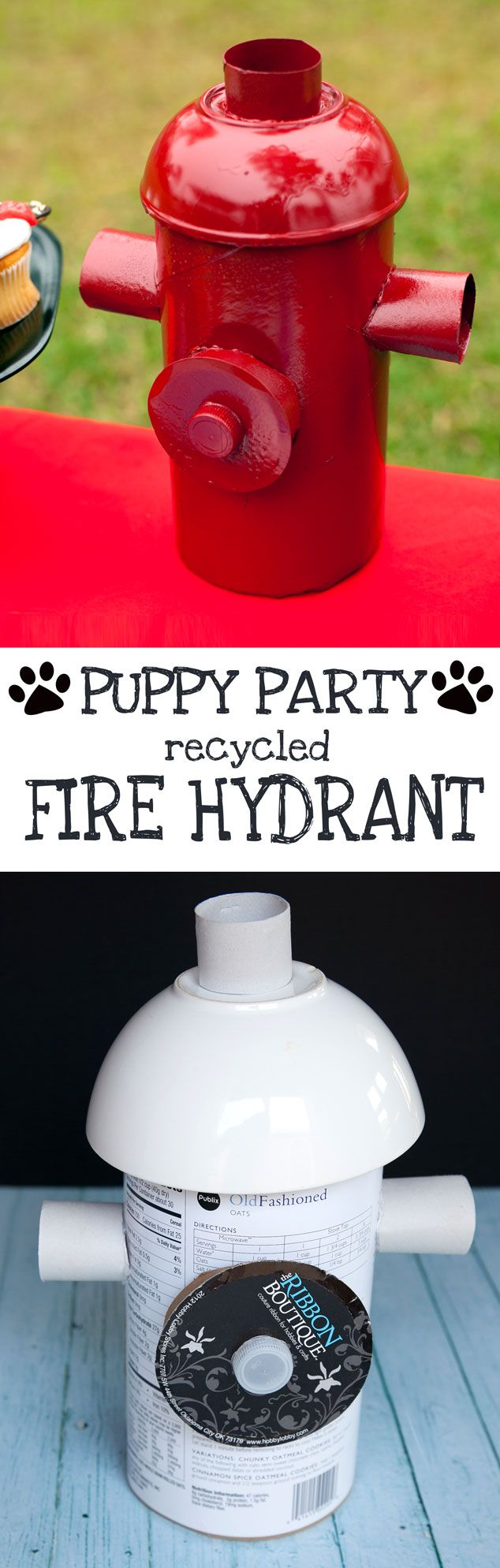 DIY Puppy Party Fire Hydrant from Recyclables