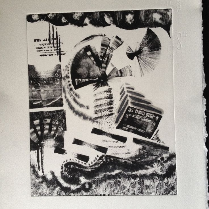 Original Oil Monotype Print 'Flying Books' by DoodleArtbyBee on Etsy