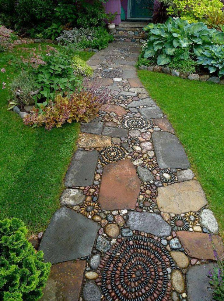 Stone, Brick, Pebble Walkway, Unique, Creative, Artwork, Garden Walk Path