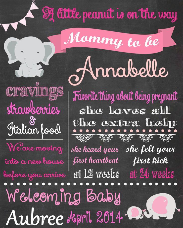 Baby Shower Chalkboard, Elephant Baby Shower, Pink Elephant Baby Shower, Girl Baby Shower, Baby Shower Decorations, Baby Shower Keepsake by PintSizePartyDesigns on Etsy