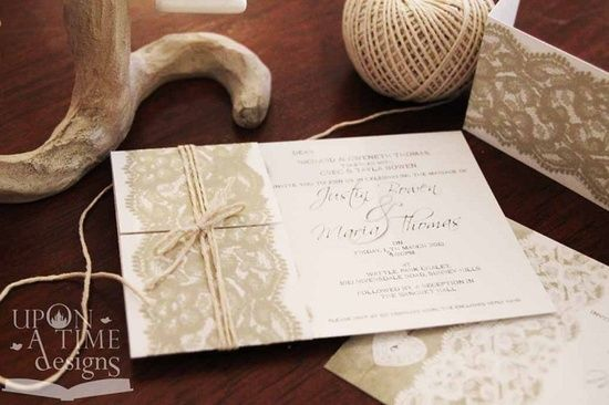 Printable Wedding Invitations - Vintage Lace Design