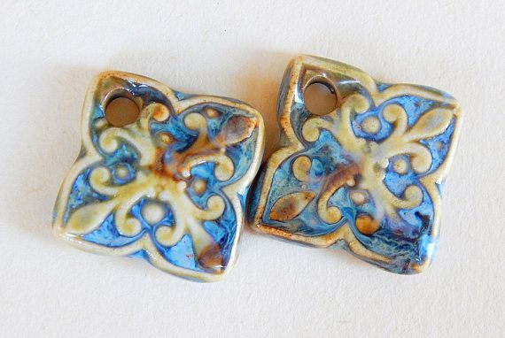 Handmade Ceramic Earring Charms Pair beige amber and blue