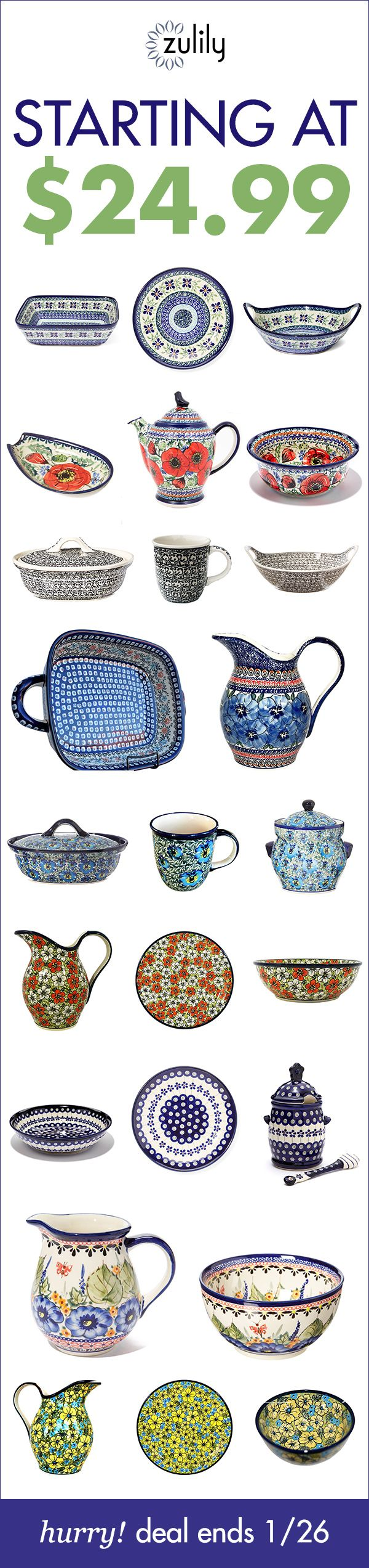 Sign up to shop pottery starting at $24.99. Beautiful craftsmanship inspired by the artistic traditions of German and Polish folklore make each piece of this incredible collection from Pottery Avenue a timeless addition to any table. Deal ends 1/26.