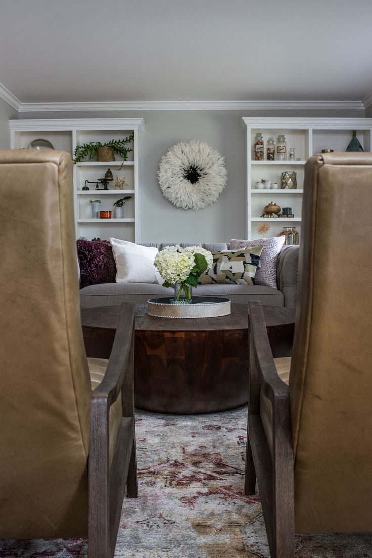Built in cabinets contemporary living room lucy and company - Living Room Views Leather Accent Chairs And White Styled Shelves Scout Nimble