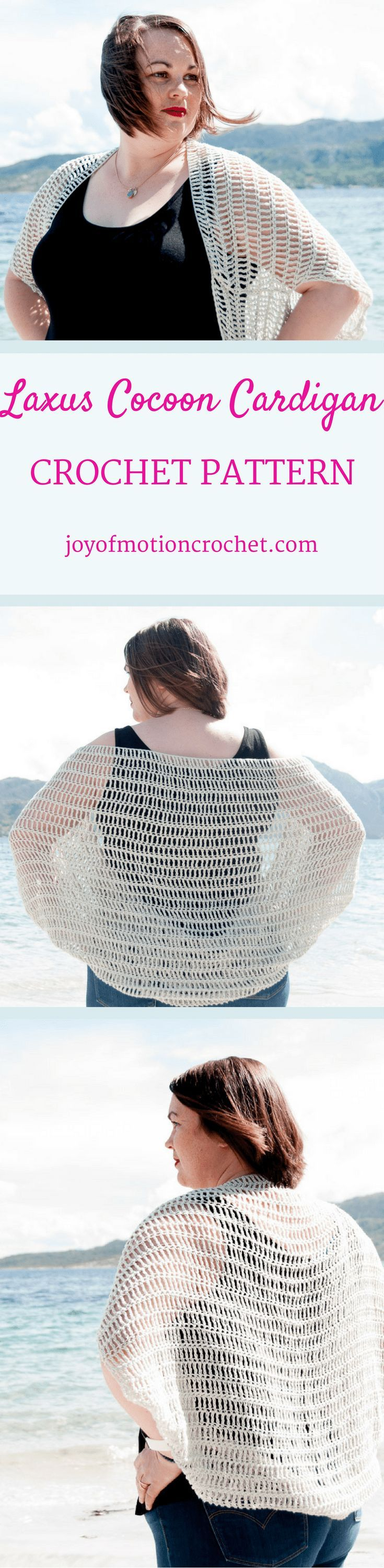 The Laxus Cocoon Cardigan Crochet pattern. Beginner crochet pattern. Woman's cocoon cardigan. Cocoon sweater. Crochet cocoon cardigan. Crochet Cocoon Sweater. Crochet cocoon blanket sweater.  Crochet cocoon shrug.  Crochet cocoon pattern. via @http://pinterest.com/joyofmotion/