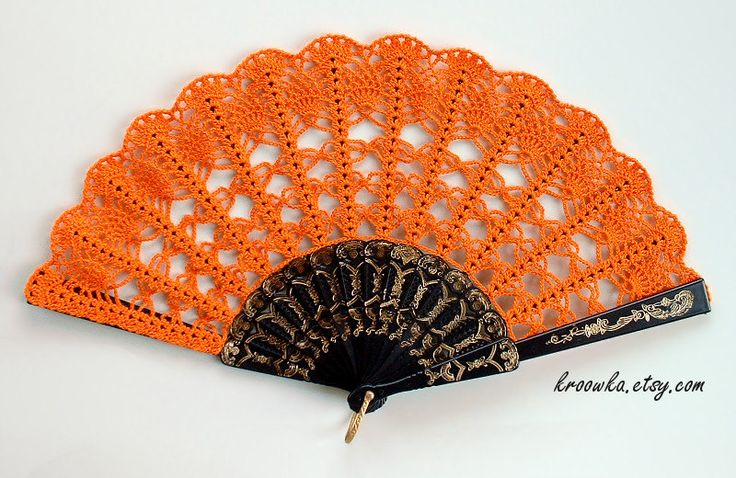 Halloween Hand Fan Hand Held Fan Handmade por ModernCrochetClub