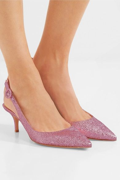 Heel measures approximately 55mm/ 2 inches Antique-rose textured-lamé Buckle-fastening slingback strap Designer color: Rosa Made in Italy