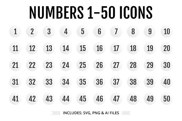 Numbers 1 50 Light Color Icon Design Inspiration Icon Number Icons