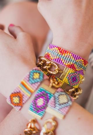 The Sign.Woven bead bracelet, chunky gold chain (pink,blue).  From Shh by Sadie on ASOS Marketplace.
