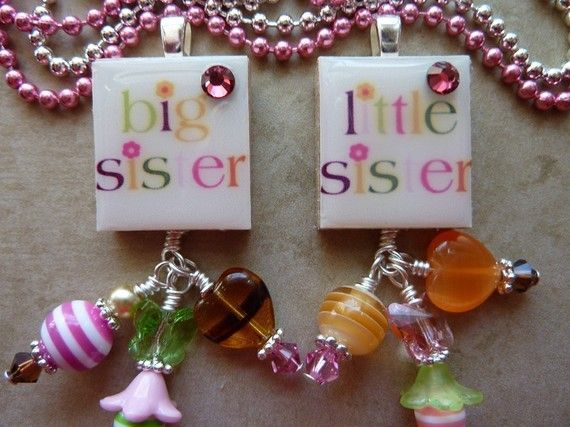 PERSONALIZED Big Sis or Little Sis Scrabble by MacysBlingsNBows, $14.00