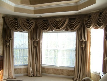 94 best images about swags on pinterest traditional for Contemporary window treatments for bay windows
