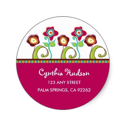 Funky flowers address labels round stickers