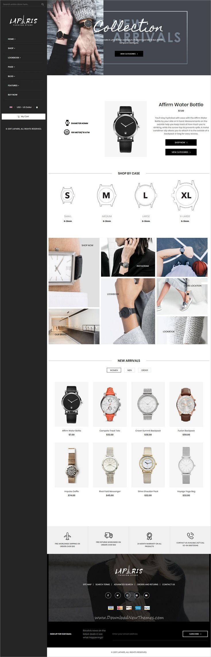 LaParis is clean, stylish and modern design responsive #Magento theme for #watch shopping stunning #eCommerce website with 10+ niche homepage layouts download now..