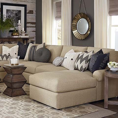 Sutton has a casual style and soft comfortable seating enhanced by blend down seat and back cushions. Available as a sectional or sofa grouping.