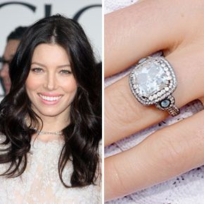 Justin Timberlake proposed to Jessica Biel on a mountain top with this 18-karat white gold and black rhodium creation by Leor Yerushalmi of Jewelers of Las Vegas. The center stone is a square hearts and arrows diamond, and is surrounded by round diamonds and one aquamarine on each side.  Photo: FameFlynet Pictures