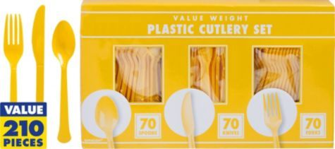 Sunshine Yellow Cutlery Set 210pc (70 of each) - Party City $9.99