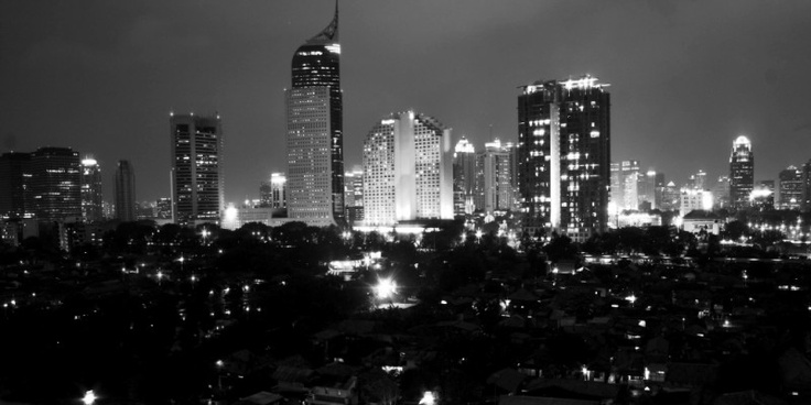 Jakarta city lights. Night shot. Indonesia.