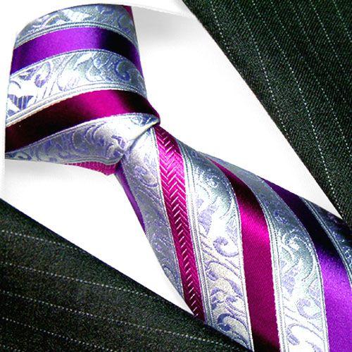 Wow!! - Lorenzo Cana Italian Tradition Silk Neck Tie Purple Silver