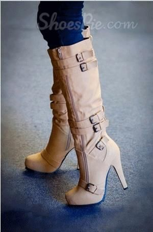 Camel Coppy Leather Stiletto Heel Knee High Boot with Amazing Buckle Decoration. :)
