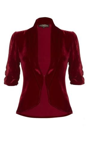 Lilliana jacket in deep red velvet - front cutout size 3