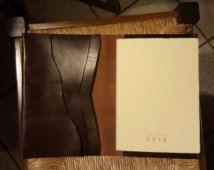 Lederen Notebook cover - lederen dagboek - Travel journal - reisorganisator - reisportefeuille gemaakt door Claudio.