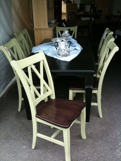 I would love green painted chairs and skirt and leg of the table