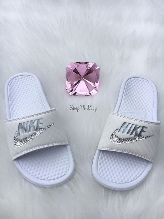 7c98f064140b Brand New Womens Swarovski Nike Benassi JDI Swoosh Slide Sandals. Nike Logo  is customized with fabulous Swarovski Crystal Rhinestones! SHIPS IN 2-3  WEEKS!