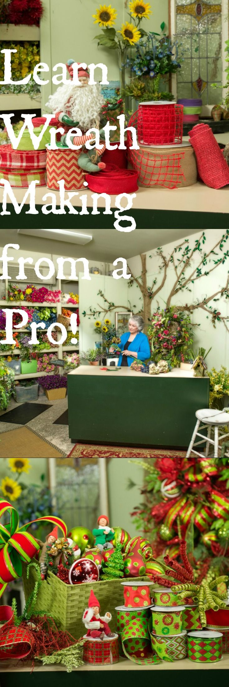 """Learn wreath making from a pro.Professional floral designer, Nancy Alexander will teach you to makes wreaths in her new book """"How To Make Your Own Wreath"""". http://ladybugwreaths.com"""