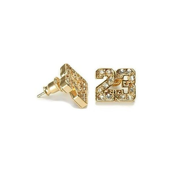 Gold Plated CZ Michael Jordan Number 23 NBA Stud... ($2.75) ❤ liked on Polyvore featuring jewelry, earrings, accessories, jordan, zirconia earrings, stud earring set, gold plated earrings, cubic zirconia jewelry et stud earrings