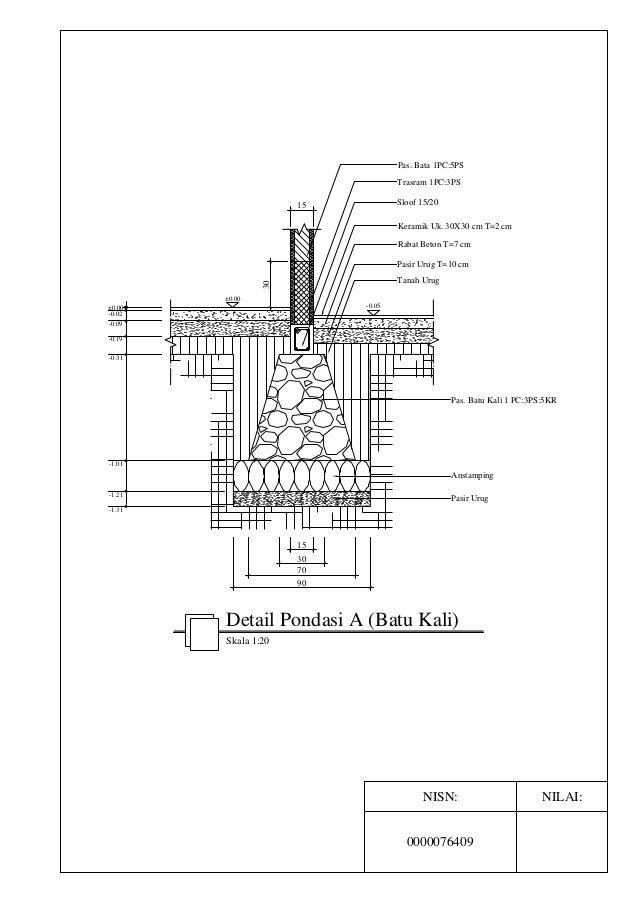 Detail Pondasi Telapak Dwg : detail, pondasi, telapak, Detail, Pondasi, (Batu, Kali), Building, Foundation,, Architecture, Drawing,, Dream, Design