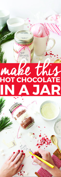 Make This Hot Chocolate in a Jar Recipe | homemade christmas gifts, handmade gift ideas, jar gift ideas, hot chocolate recipe ideas, holiday gift ideas || The Butter Half #hotchocolate #giftideas #holidaygifts #handmadegifts via @thebutterhalf