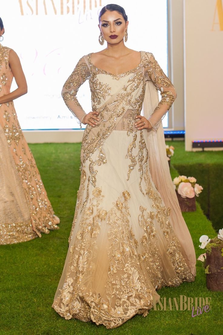 Gold White embroidered Bridal lengha dress Mongas-INDIAN-PAKISTANI-WEDDING-FASHION