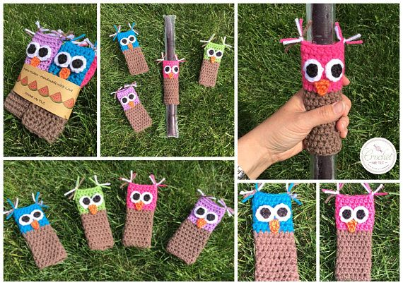 This listing is for one adorable set of 4 owl freezie holders. Keeps little hands and fingers warm! Fun on a hot summer day :) ♥ Item will be made especially for you, so please check my Shop Policies or contact me to see the current waiting time ♥ 100% acrylic yarn ♥ Custom colours