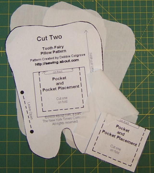 You'll find a free pattern and directions to sew a tooth fairy pillow that makes a great gift to sew for an older sibling at a baby shower or a second baby that has everything.: Sew a Tooth Fairy Pillow - Cutting