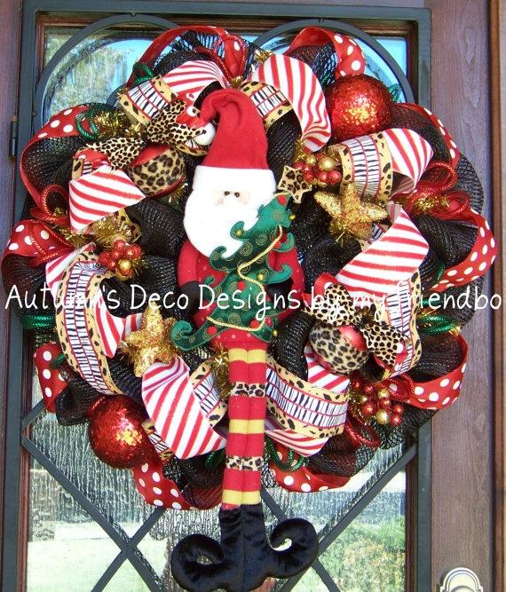 Leopard Polka Dot Santa Merry Christmas Deco Mesh by myfriendbo, $115.00