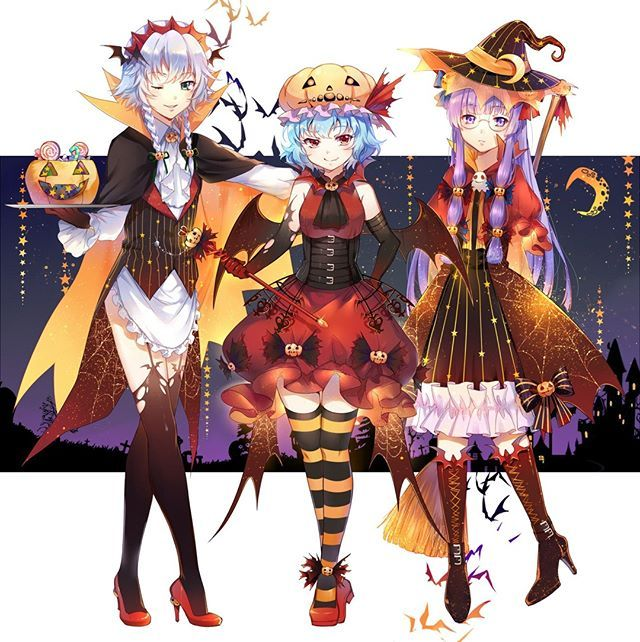 sakuya patchouli remilia touhou artist ekita xuan kawaii waifus kawaiigirl animegirls touhou awwnime waifus waifu anime halloween cute anime pics anime