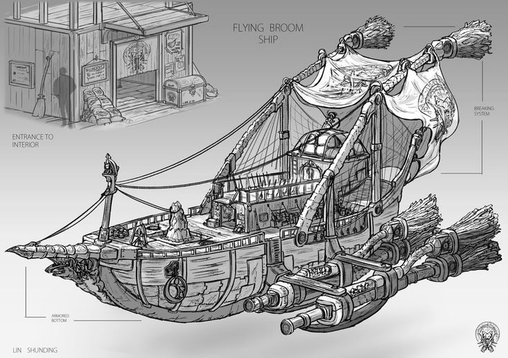 The Flying broom ship by shunding.deviantart.com on @deviantART -- When Verbena and Sons of Ether make skyships together? *g*