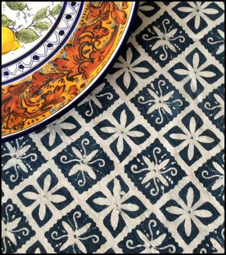 Lake Diamond - Natural #Indigo block print #batik Table Linens - at Textiil - Artisan fabrics & Modern global home decor