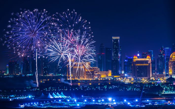 Download wallpapers Doha, fireworks, 4k, nightscapes, skyscrapers, Qatar