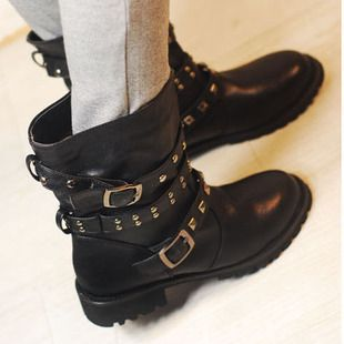 free shipping 2012 fashion punk motorcycle buckle rivet motorcycle boots martin boots female ankle boots on AliExpress.com. $34.99