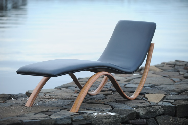 Chaise Longue Upholstered Leather And Laminated Tasmanian Blackwood Chaise Longue Blackwood Chaise