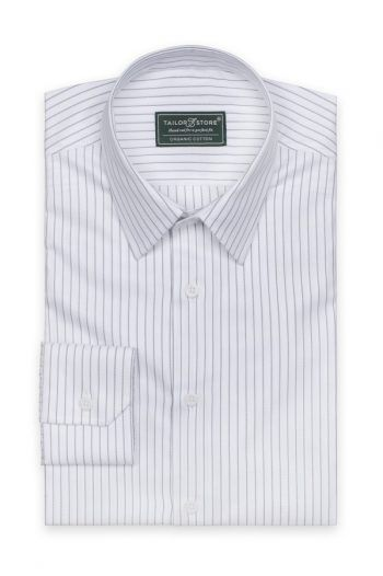 Organic dress shirt with thin black stripes 220x330 The best black and white dresses for any occasion