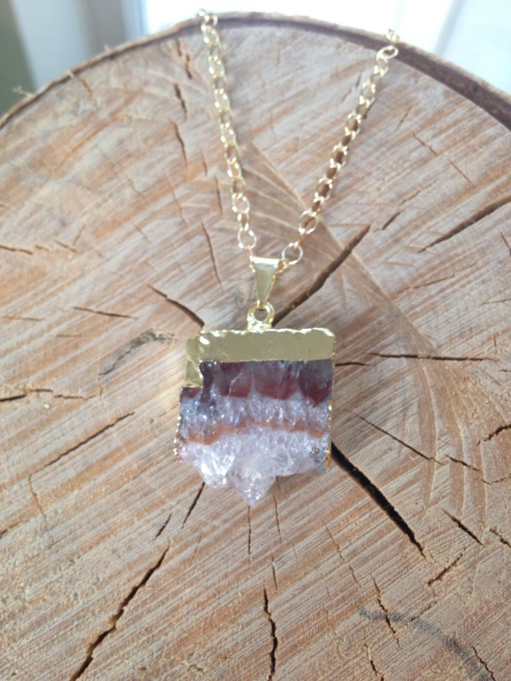 Amethyst Necklace: Petite Gold Dipped Amethyst Necklace, Raw Amethyst Necklace, Amethyst Slice Necklace, Amethyst Pendant, Amethyst Geode by MalieCreations on Etsy