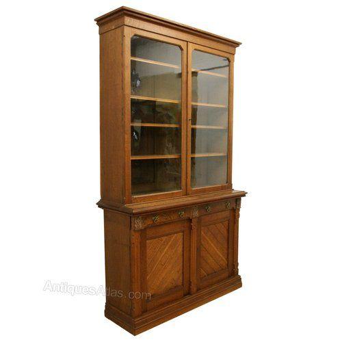 Wylie & Lochhead Oak Cabinet Bookcase - Antiques Atlas